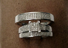 White Gold His Her Mens Woman 0.40ct Diamonds Pave Wedding Ring Bands Trio Set