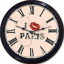 Paris Eiffel France French Wall Clock Lipstick I Love Paris with a Kiss New
