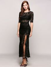 """MONTANNA"" STUNNING NEW LADIES SIZE 10 BLACK LACE FITTED CUT OUT COCKTAIL DRESS"