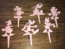Disney Cake Toppers, Set Of Six. Vintage, Pink Color, Candle Holders. Made In US