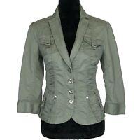 White House Black Market 4 Blazer Army Green Ruched Cargo Pocket Jacket 3/4 Sl S