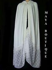 White Cloak Opera Cape Victorian Rep Long Velvet & Lace Lined Maya Cloak