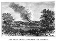 Bomberos de Londres en Whiteley visto desde West Hampstead-Antiguo Impresión 1887