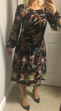 New Asos YAS Leaf Print Midi Skater Dress Size Medium Tall Stylish