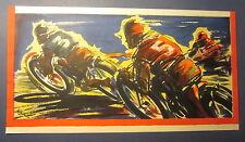Original Old Vintage 1930's - MOTORCYCLE RACE - Poster - ART DECO - Wade