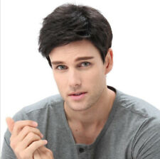 Popular Men Short Straight Wigs Hairpiece Inclined Bangs Black Synthetic Toupee