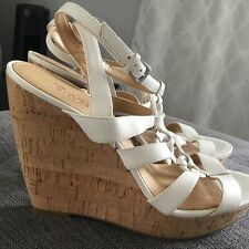 ENZO Angiolini Cork Wedge Platform White Strappy Sandal Pump Heel Shoe 10