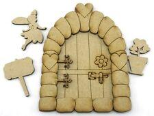 MDF Fairy Door Kit With Fairy, Elf House Laser Cut MDF - 15cm high 3mm Hobbit