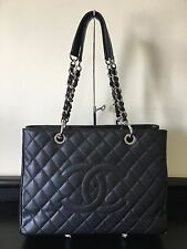Authentic Chanel GST Grand Shopper Tote Black Caviar Leather Silver Hardware