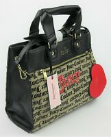 NWT $99 Juicy Couture Womens Popout Heart Beige Black Medallion Logo Satchel