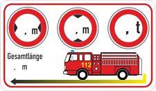Feuerwehr Fahrzeug 112  Aufkleber Masse Höhe Breite Länge Gewicht Piktogramm
