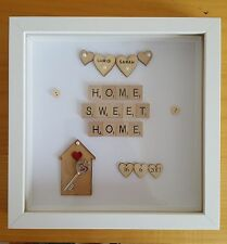 PERSONALISED HOME SWEET HOME SCRABBLE FRAME HEARTS NEW HOME HOUSE WARMING GIFT