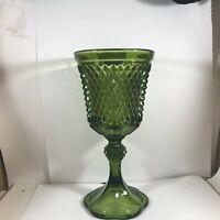 "Large 10-3/4"" Diamond Pressed Green Glass Pedestal Goblet Planter Vase"