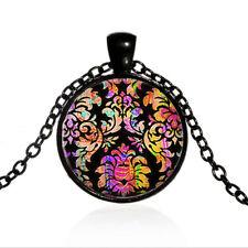 Vintage Retro Flower Pattern Cabochon Black Glass Chain Pendant Necklace