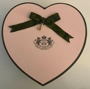 "Juicy Couture pink & brown heart gift box organizer heavy cardboard 8""x8"" EUC"