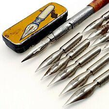 Vintage calligraphy dip ink nib pen Roeder NIBS LOT tin box Schuler pen Hungary