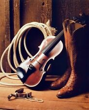 Western Cowboy Boots with Violin Fiddle Spur Rope Rodeo Wall Art Print (16x20)