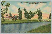 Lake Worth Florida~Country Club~1940s Linen Postcard