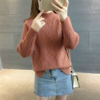 Ladies Knitted Jumper Sweater Turtle Neck Knitwear Striped Pullover Vintage Tops