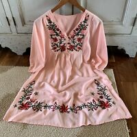 Boho Floral Embroidered Pink Tunic Dress Cotton Top Vtg Insp 70s Sizes M - XL