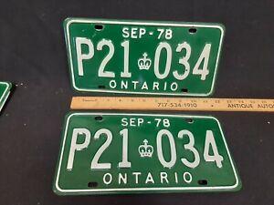 1978 Ontario License Plate Pair set P21-034 ORIGINAL  NO RESERVE