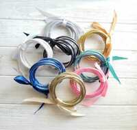NEW Glitter Jelly Bangles Set Rainbow Glitter Tube Bracelets Hottest Accessories