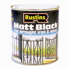 RUSTINS MATT BLACK FOR WROUGHT IRON & WOOD METAL QUICK DRY SMOOTH FINISH PAINT