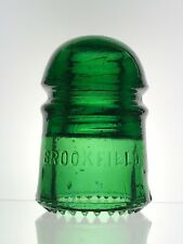 New ListingAntique Glass Insulator Bright Green Cd 102 Brookfield Sdp Rock In Dome
