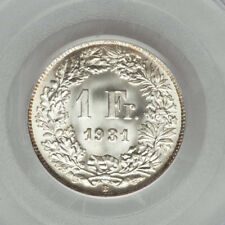 1931 1 Franc SWITZERLAND Silver (S$1FR) PCGS MS67 - Amazing White Luster