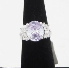 Cubic Zirconia Ring Size 6 Purple Oval Shape Silver Tone Rhodium Plated