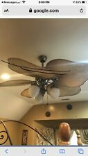 Indoor Outdoor Bamboo Palm Leaf Ceiling Fan Fancy Tropical Patio Light Nickel