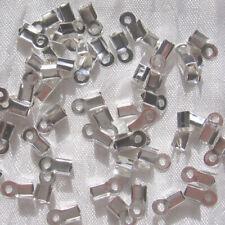 LOT DE 100 EMBOUTS SERRE-FIL À ÉCRASER PLIER 9x4MM ARGENTÉ bracelet perles *A145