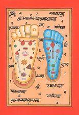 Good Vishnu Pada Footprint  Foot Tantric Miniature Painting Indian Hindu