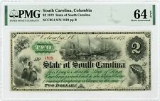 1873 Cr.14 $2 The State of SOUTH CAROLINA Note - PMG Ch.CU 64 EPQ