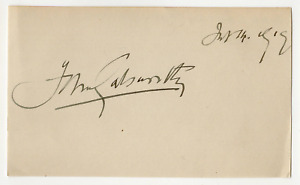John Galsworthy signed autographed index card! RARE! Guaranteed Authentic! 6430