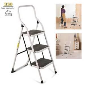 Anti-slip 3 Step Aluminum Ladder Folding Step Stool  with Handgrip 330lbs Load