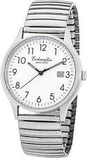 Eichmüller Herren klassische Armbanduhr 38mm Uhr Zugband Flexband 5 ATM Silber