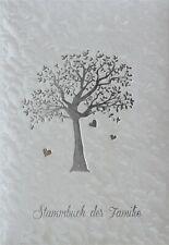 Stammbuch Ahnenbaum, weiß, Designfolie, Silberprägung|Trauung|Stammbuchformat