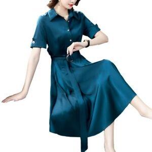 Women Shirt Dress Turn Down Collar Short Sleeve Satin A-Line Belt Dresses Work L