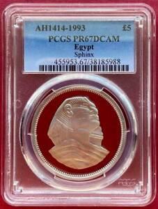EGYPT , 5 POUNDS SPHINX1993 - PCGS PR 67 DCAM , RARE