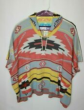 Billabong Hooded Poncho Aztec Southwest Tribal Print Women's S/M