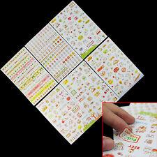 6 Fogli Adesivi Stickers Kawaii Multicolori Decorazione Scrapbooking Calendario