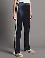 MARKS & SPENCER AUTOGRAPH Side Stripe Straight Leg Navy Trousers Size UK 14 BNWT
