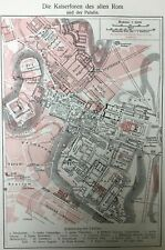 Italy Ancient Rome c1905 superimposed on modern Rome Palatine, 2 antique maps