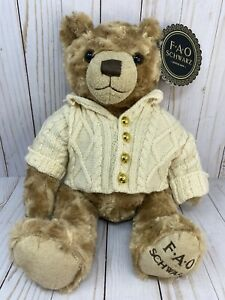 FAO Schwarz Anniversary Teddy Bear Plush Cable Knit Sweater Elbow Patches ~NWT