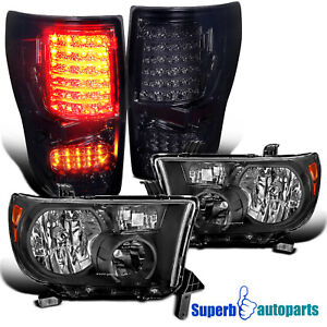 For 2007-2013 Toyota Tundra Replacement Headlights Black+Smoke LED Tail Lamps