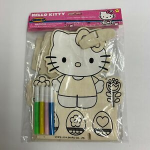 Lot Of 2 Hello Kitty Character Wood Stand Up Plaques Easter Eggs Spring Flowers
