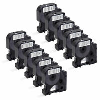 "10PK 18444 Black on White Vinyl Label 1/2"" for DYMO RHINO 4200 5200 6000 Printer"