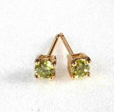 Men Girl Apple Green Stud Earrings 18K Yellow Gold Plated 3mm Small CZ Crystal