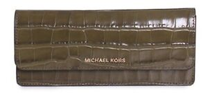 Michael Kors Money Pieces Crocodile-embossed Leather - Flat Wallet - Olive